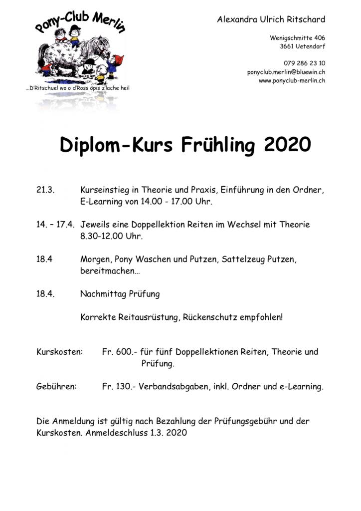 Ausschreibung Diplomkurs 2020